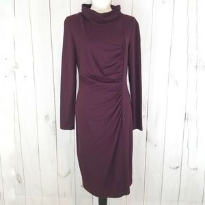 Lafayette 148 New York Maroon Ruched Side Dress